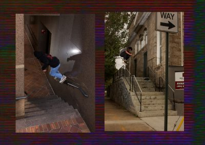 Shane Farber, 50-50. (left) Victor Gonzalez, kickflip (right)